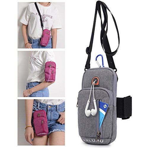 BAGZY Running Armband Phone Holder Passport Travel Wallet Bag Money Belt Waist Pouch Shoulder Holsters Cross body Outdoor Sports Purse Case Bag for iPhone 7/6S Plus Cycling Hiking Jogging Grey