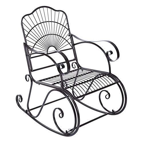 Sedie a dondolo per adulti, Sedie da giardino reclinabili Sedia a dondolo in ferro Sedia singola pigra Sedia a sdraio da sole...
