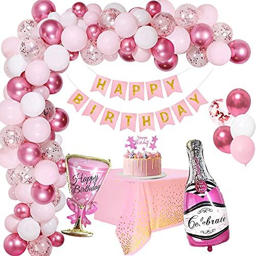 Decoración Cumpleaños Niñas, Globos de Fiesta Cumpleaños Rosa para Mujer Globos de Confeti Rosa Metálicos Feliz Cumpleaños Banderines Decoración de Tartas Globos de Cumpleaños 1 año Infantil Niñas