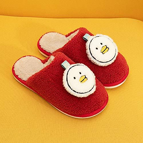 SHOESESTA Zapatillas de Estar por Casa Dibujos Animados Pato Zapatillas de Felpa Mujer Otoño Invierno Zapatos de Algodón Antideslizante Cálido Interior Dormitorio Ocio Zapatos de Piso-Red_37-38