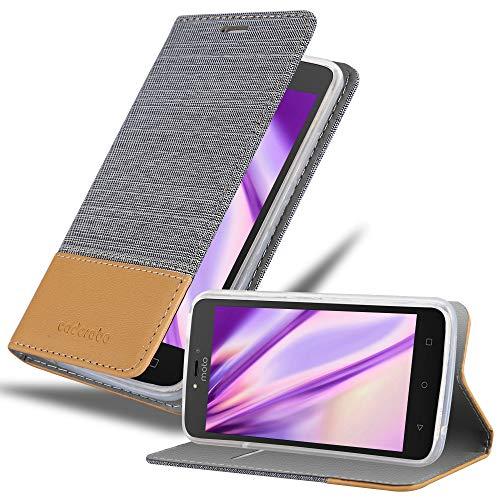 Cadorabo Hülle für Motorola Moto C Plus - Hülle in HELL GRAU BRAUN – Handyhülle mit Standfunktion & Kartenfach im Stoff Design - Hülle Cover Schutzhülle Etui Tasche Book