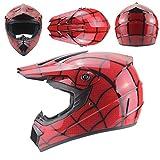 Casque intégral de vélo de Montagne de Moto Tout-Terrain, Casque Spiderman Casque Complet, Ensemble de Casque de Moto intégral VTT, Code XL, 59-60 CM