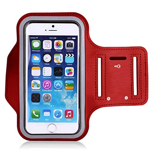 TRUEGRIT Fitness Running Bolsa Universal para teléfono móvil, hasta 6.5 Pulgadas Soporte para teléfono Deportivo Brazalete Cubierta Protectora roja