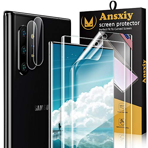 (2+2Pack) 2 Pack Flexible TPU Film Screen Protector and 2 Pack Camera Lens Protector for Note 10 Plus, Note 10 Plus Screen Protection HD Clear, Support Fingerprint Sensor, Anti-Scratch, Bubble Free