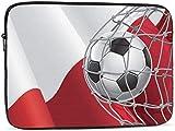 Bolsa de manga para portátil con bandera de Polonia y portería de fútbol compatible con estuche para ordenador portátil de 10-17 pulgadas, bonito bolso de ordenador de 15 pulgadas