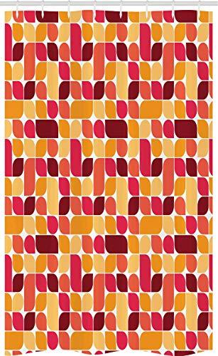 ABAKUHAUS Wijnoogst Douchegordijn, Bauhaus Geometrische Retro, voor Douchecabine Stoffen Badkamer Decoratie Set met Ophangringen, 120 x 180 cm, Veelkleurig