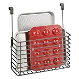 mDesign Metal Over Cabinet Kitchen Storage Organizer Holder or Basket - Hang Over Cabinet Doors in Kitchen/Pantry - Holds Bakeware, Cookbook, Cleaning Supplies - Graphite Gray