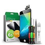 GIGA Fixxoo Display-Set für iPhone 6s Plus | SCHWARZ | vormontiertes Reparatur-Set komplett mit Frontkamera & Werkzeug-Kit, Ersatz Bildschirm | Retina LCD Glas mit Touchscreen