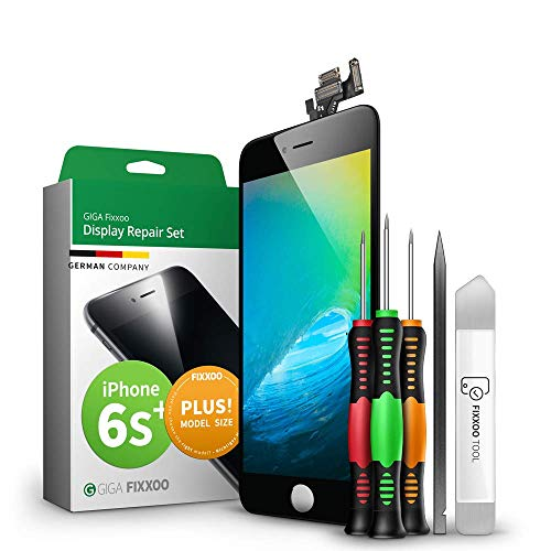 Preisvergleich Produktbild GIGA Fixxoo Display-Set für iPhone 6s Plus / SCHWARZ / vormontiertes Reparatur-Set komplett mit Frontkamera & Werkzeug-Kit,  Ersatz Bildschirm / Retina LCD Glas mit Touchscreen