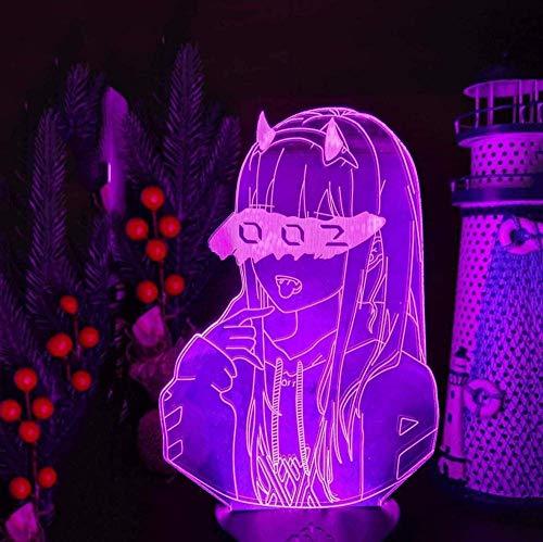Baby Spielzeug Liebling in der Franxx Zero Two 002 3D LED Illusion Nachtlichter Anime Lampe LED Beleuchtung für Weihnachtsgeschenk-16 Farben mit Fernbedienung