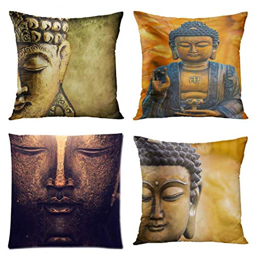 Set of 4 Throw Pillow Covers Buddha Face Statue Used As Amulets of Buddhism Religion Buddah Decorative Pillow Cases Home Decor Square 18x18 Inches Pillowcases