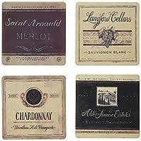 "CoasterStone AS8785 Absorbent Coasters, 4-1/4-Inch,""Vineyard and Cellars"", Set of 4 [並行輸入品]"