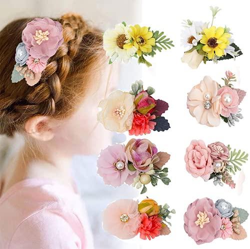 VUCDXOP 8 Stücke Mädchen Blume Haarschmuck Haarspangen Set Baby Haarschleife Blumenclip Simulations kopfblume Haarclip Kinder Haarschmuck Haar Clip