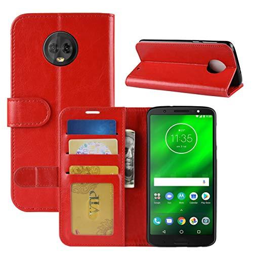HualuBro Moto G6 Plus Hülle, Retro PU Leder Leather Wallet HandyHülle Tasche Schutzhülle Flip Hülle Cover für Motorola Moto G6 Plus Smartphone - Rot