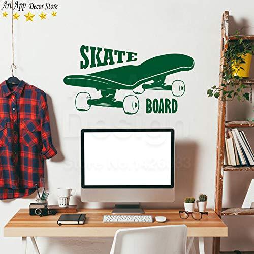 YuanMinglu Hochwertige Skateboard wandaufkleber abnehmbare Kunst Spiel Sport Zimmer Applique grün 30 cm x 58 cm