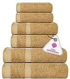 CASA COPENHAGEN Solitaire Egipcio algodón 600g/m², Sala de baños, Mano y servilleta / Toallas Junto (Beige) 6 Piezas