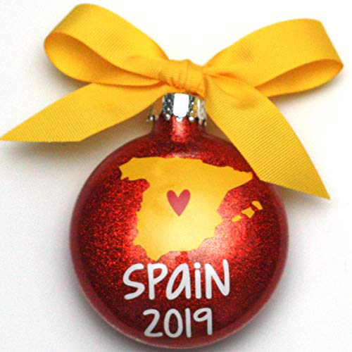 WMC Spain 2019 Glass Glitter Christmas Ornament