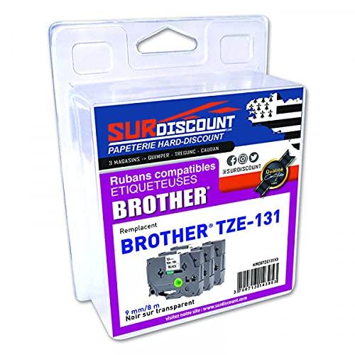 Lote de 3 cintas compatibles con Brother TZE-131, 12 mm/8 m, plástico negro sobre transparente