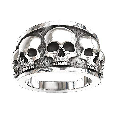 Anillo de plata para hombre, estilo punk y calavera, estilo gótico, estilo vintage, para motero, rock, hip hop, punk para fiestas, regalos para hombres y mujeres, Metal,
