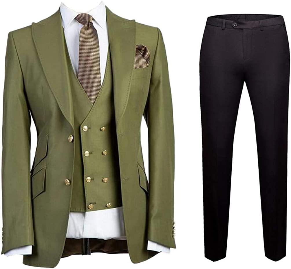 Peak Lapel Men 3 Pieces Suit Two Button Slim Fit Wedding Suit Groom Tuxedo Suit