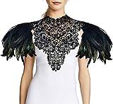 Homelex Gothic Black Natural Feather Wedding...
