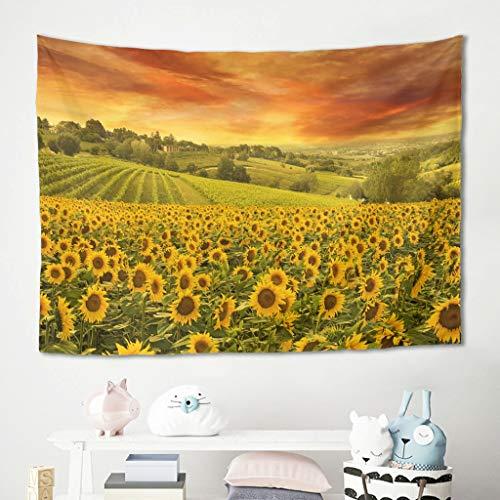 O5KFD&8 Bohemian Ölbild Sonnengirasol Tapestry Wandtuch Berg - Picnic Beach Sheet, Home Dekor para salón dormitorio Dekor White 230x150 cm