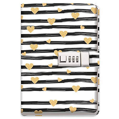 Trötsch Tagebuch mit Zahlenschloss Goldheart: Notizbuch Bullet Journal