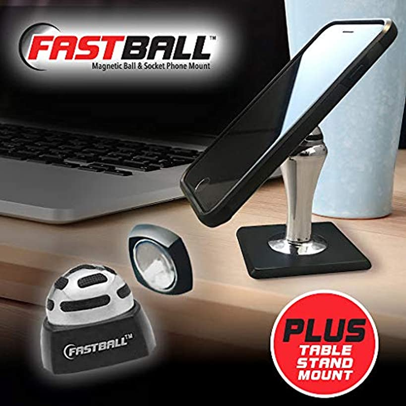 Original Fastball Magnetic Phone Mount with Table Stand by BulbHead - Universal 360 Degree Magnetic Phone Holder Swivels to Perfect Viewing Position, Keeps Cell Phone in Place in The Car