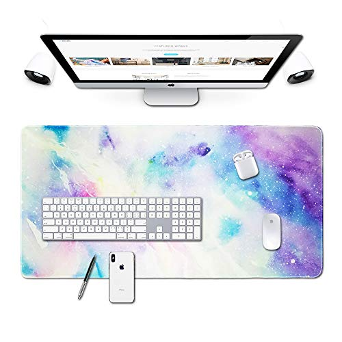 Desk Size Mouse Pad Office Mousepad Large Decorative Mouse Pads X-Large Gaming Mouse Mat Rubber Base Stiched Edges XXL XXXL Gamepad for PC Laptop Computer Simple Design Marble HD Print (06Galaxy1)