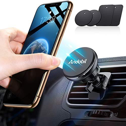 andobil Handyhalterung Auto Magnet [4 Metallplatten& 6 Starke Magnete] Lüftung KFZ Handy Halterung Auto Zubehör Kompatibel mit iPhone SE/11 Pro/XR/X/Xs Max/Samsung/Huawei/Xiaomi/GPS-Geräte usw