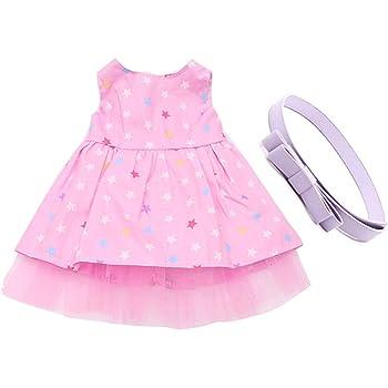 Sharplace Jupe Noir /à Pois Color/ée Robe sans Manches avec Ceinture Rose Motif Fleur en Tissu Ornement pour 18 Pouces Dolls--30cm