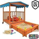 Sandkasten Dach XL | Sonnenschutz UV 50 | rollbare Spielveranda | Spielhaus Sandbox Holz Deckel...