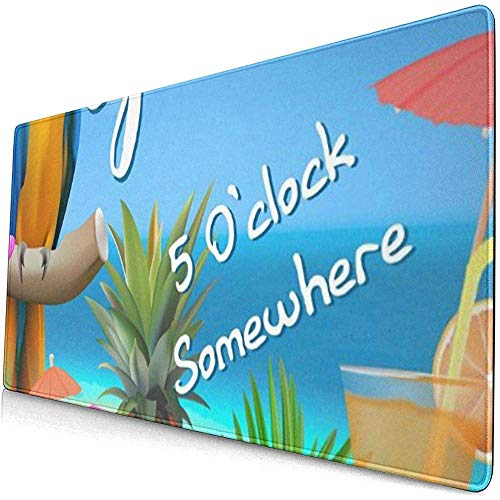 Gaming Extended Mouse Pads Willkommen Sommer 5 Uhr Irgendwo Papagei Trapical Beach Limonade Regenschirm Palme 30X80 cm