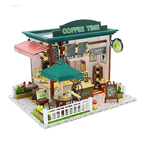 WYD DIY Model Kits Dollhouse Kits Miniature House Kit Model with LED Lights and Dollhouse Kit for Coffee Time Cottage (Coffee Shop)