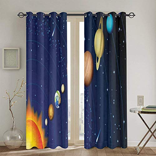 Airmark Gardinen,Sonnensystem mit Sonne Uranus Venus Jupiter Mars Pluto Saturn Neptun Bild 2 Stück Vorhang für Haus Dekoration