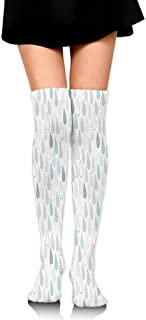 Compression Socks,Big Droplets Motif Filled with Ornate Lines and Dots Cute Urban Life Vibrant Art,Knee High Compression Sock Women Men,Best Running,Athletic Sports,Crossfit,Flight Travel(25.5