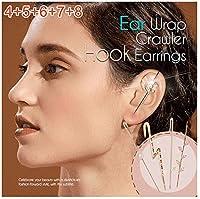 5ピース耳ラップクローラーフックイヤリング、耳介クリップジュエリーの周りのサッシュ耳針、女の子の女性のための美しさのスタッドカフピアス