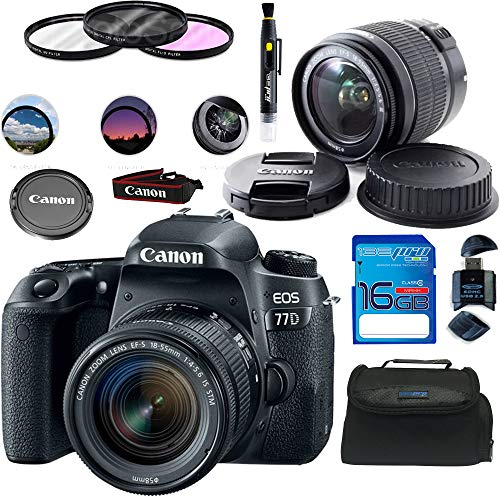 Canon EOS 77D EF-S 18-55 is STM Kit - Deal Expo Basic Accessories Bundle