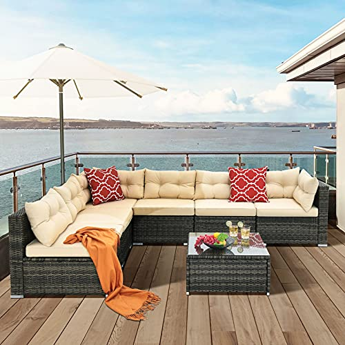 YITAHOME Patio Furniture Set,7-Piece All-Weather Rattan Patio Conversation Set with Washable Soft...