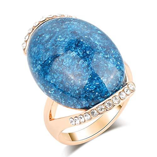 GMZWW Rose Gold ovale blauwe stenen ringen verlovingsringen voor vrouwen nieuwste Design Vintage sieraden