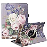 Hülle für iPad 5th/6th Generation, iPad Air 2, iPad Air, 360 Grad Drehung Schutzhülle Lederhülle Drehbar Ständer Auto Schlaf/Aufwach für iPad 9.7 2018/2017 (Oil Painting Roses)