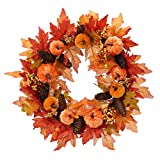 FUNARTY 22 Inch Fall Wreath Autumn Front Door Wreath with Pumpkins Pinecone Berries for Fall and Thanksgiving Decoration