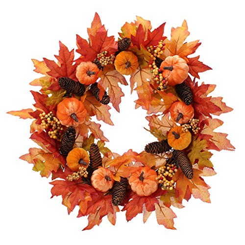 fall front door wreath with pine cone