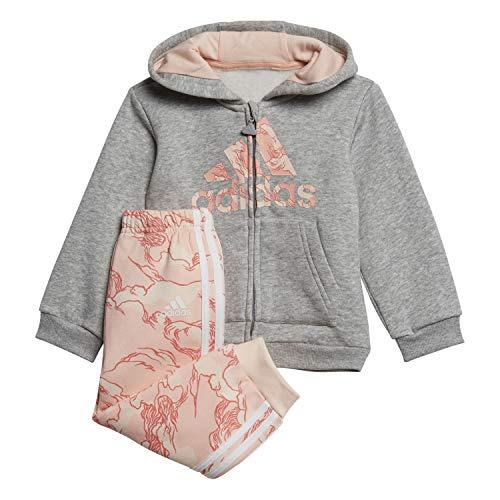 adidas I Logo Fz Hd Fl Tuta, Unisex bimbi, Top:Medium Grey Heather/Haze Coral Bottom:Pink Tint F20/White, 2-3Y