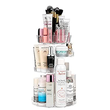 Jerrybox Makeup Organizer Adjustable Professional Makeup Organizer, Compact Size with Large Capacity, Fits Different Types of Cosmetics and Accessories, Transparent