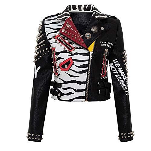 Chaqueta Corta De Cuero De Cuero Estilo Punk Graffiti Chaqueta Corta De Cuero De Imitación para Mujer Patrón De Cebras Indias Remache Ropa De Motocicleta Prendas - Negro_XXL