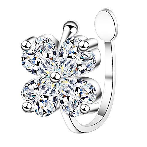 Pendiente de clip para mujer, plata 925, flor con circonitas, piedras brillantes, piercing falso