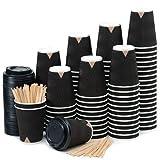 100 Vasos Desechables Ondulación Negra de Doble Pared de Café para Llevar -...