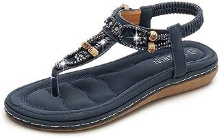 XL_nsxiezi Sandalias Casual para Mujer de Gran tamaño con Cuentas Zapatillas