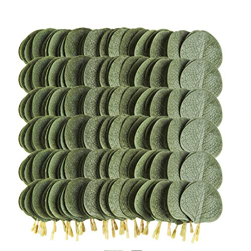Meiliy 300pcs Bulk Eucalyptus Leaves Artificial Greenery Fake Green Leaves for DIY Wreath Wedding Boutonnieres Corsages Baby Shower Cake Flower Decorations